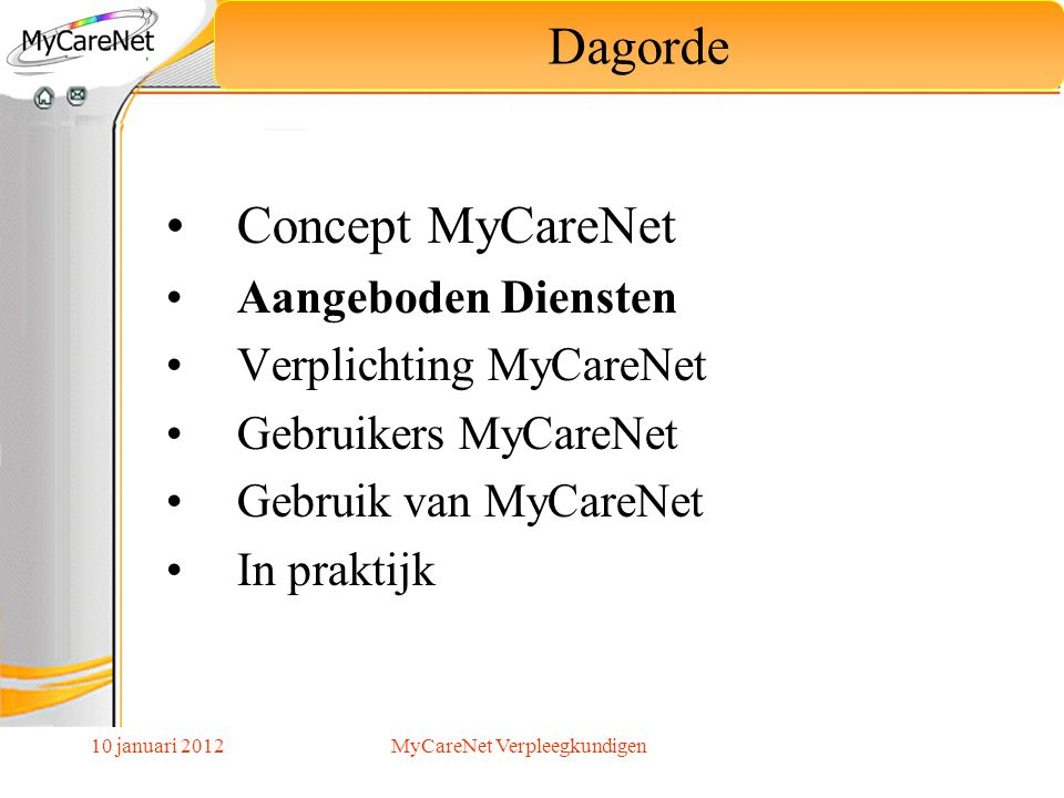 10 januari 2012 De verplichting MyCareNet op 1 juli 2012 betreft : Het verzenden en ontvangen van de fakturatie bestanden De raadpleging verzekerbaarheid wordt sterk aangeraden maar is niet verplicht Verplichting MyCareNet MyCareNet Verpleegkundigen