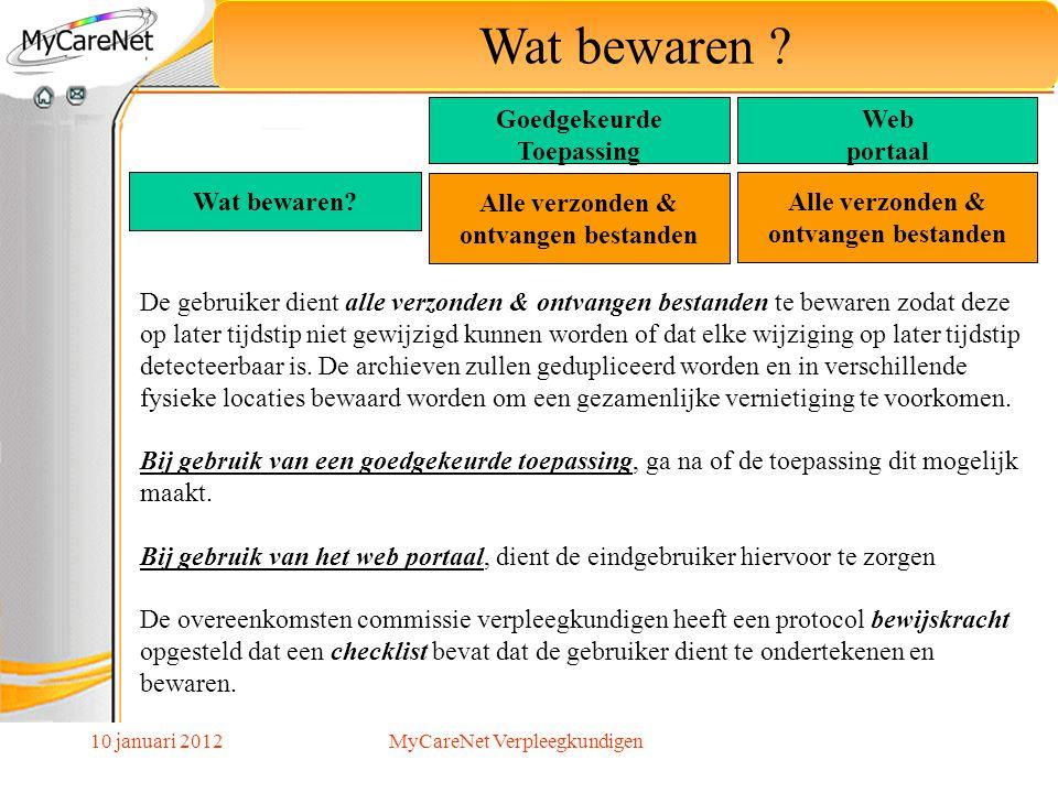 10 januari 2012 Wat bewaren ? De gebruiker dient alle verzonden & ontvangen bestanden te bewaren zodat deze op later tijdstip niet gewijzigd kunnen wo