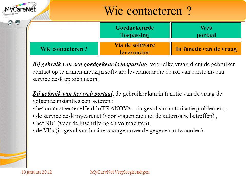 10 januari 2012 Wie contacteren ? Via de software leverancier In functie van de vraag Bij gebruik van een goedgekeurde toepassing, voor elke vraag die