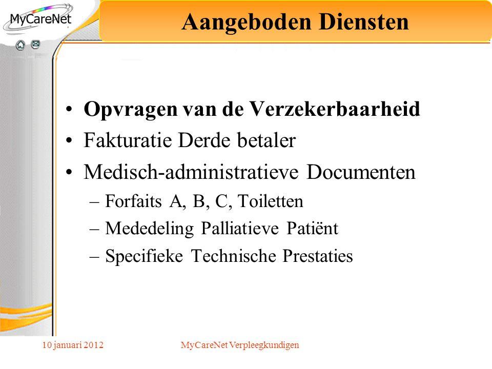 10 januari 2012 De verplichting MyCareNet op 1 juli 2013 betreft : Het verzenden en ontvangen van de medisch-administratieve documenten Deze verplichting betreft : De individuele thuisverpleegkundigen en groeperingen van verpleegkundigen met een uniek RIZIV nummer.