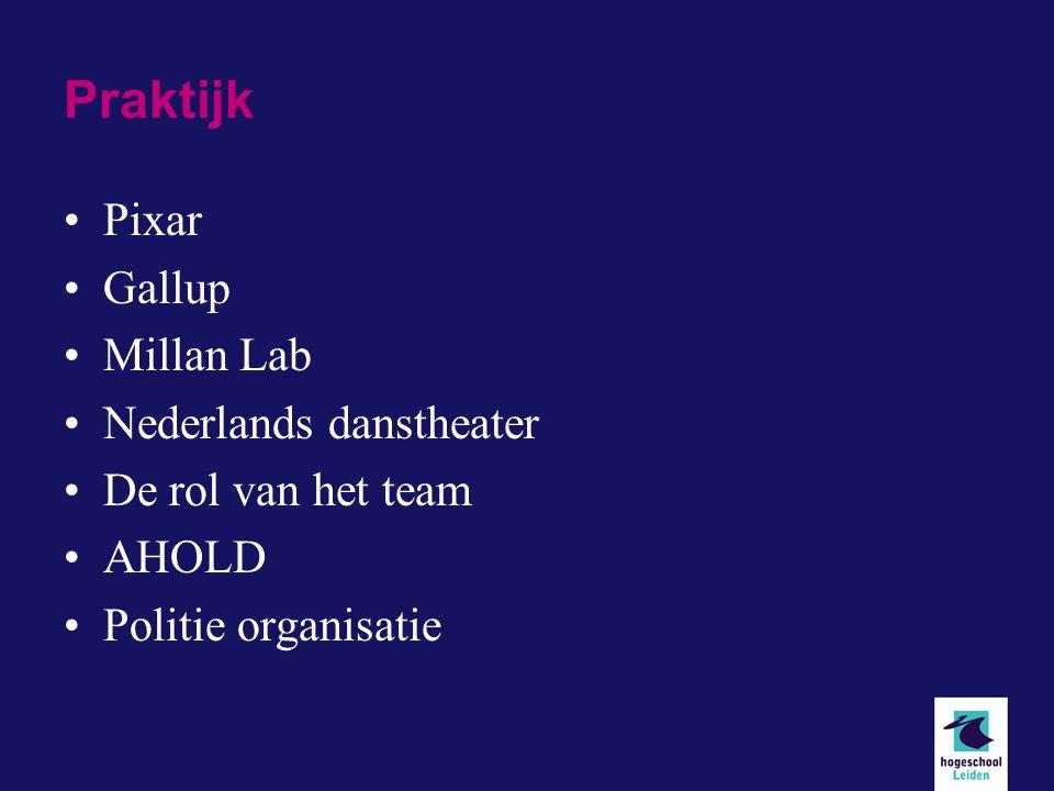 Praktijk Pixar Gallup Millan Lab Nederlands danstheater De rol van het team AHOLD Politie organisatie