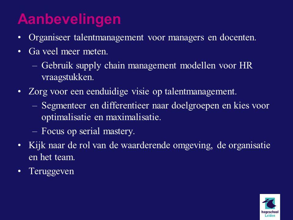 Aanbevelingen Organiseer talentmanagement voor managers en docenten.