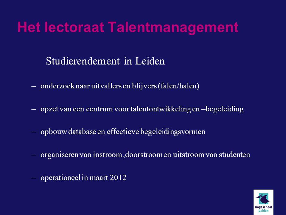 Het lectoraat Talentmanagement Studierendement in Leiden –onderzoek naar uitvallers en blijvers (falen/halen) –opzet van een centrum voor talentontwikkeling en –begeleiding –opbouw database en effectieve begeleidingsvormen –organiseren van instroom,doorstroom en uitstroom van studenten –operationeel in maart 2012