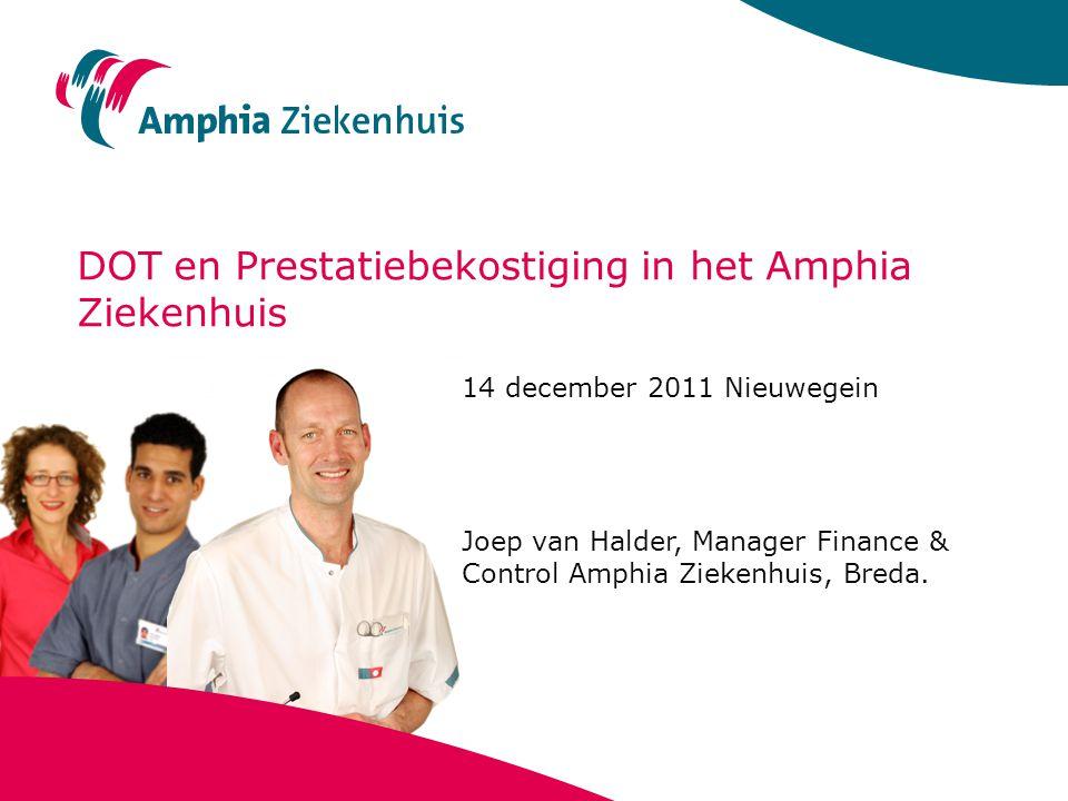 DOT en Prestatiebekostiging in het Amphia Ziekenhuis 14 december 2011 Nieuwegein Joep van Halder, Manager Finance & Control Amphia Ziekenhuis, Breda.