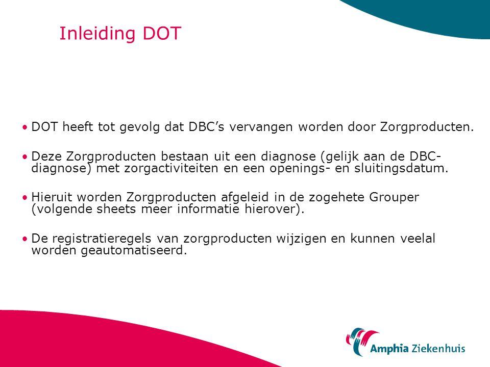 Inleiding DOT DOT heeft tot gevolg dat DBC's vervangen worden door Zorgproducten. Deze Zorgproducten bestaan uit een diagnose (gelijk aan de DBC- diag