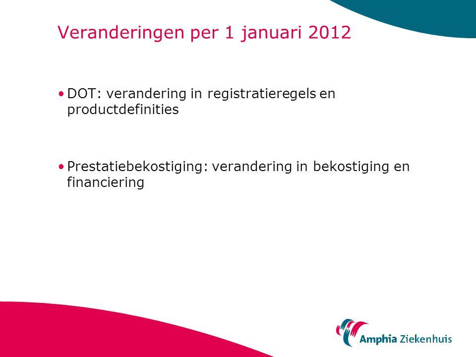 Veranderingen per 1 januari 2012 DOT: verandering in registratieregels en productdefinities Prestatiebekostiging: verandering in bekostiging en financiering