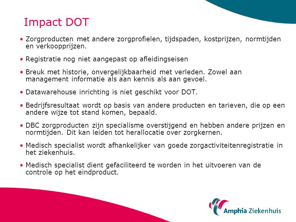 Impact DOT Zorgproducten met andere zorgprofielen, tijdspaden, kostprijzen, normtijden en verkoopprijzen. Registratie nog niet aangepast op afleidings