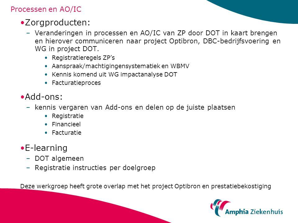Processen en AO/IC Zorgproducten: –Veranderingen in processen en AO/IC van ZP door DOT in kaart brengen en hierover communiceren naar project Optibron, DBC-bedrijfsvoering en WG in project DOT.
