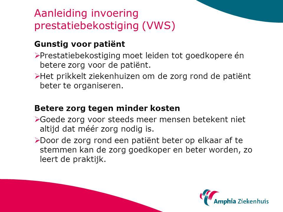 Aanleiding invoering prestatiebekostiging (VWS) Gunstig voor patiënt  Prestatiebekostiging moet leiden tot goedkopere én betere zorg voor de patiënt.