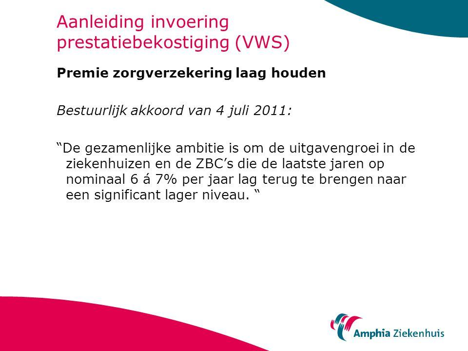 """Aanleiding invoering prestatiebekostiging (VWS) Premie zorgverzekering laag houden Bestuurlijk akkoord van 4 juli 2011: """"De gezamenlijke ambitie is om"""
