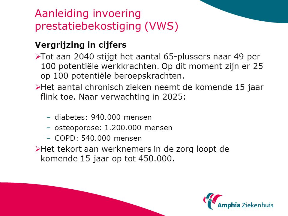 Aanleiding invoering prestatiebekostiging (VWS) Vergrijzing in cijfers  Tot aan 2040 stijgt het aantal 65-plussers naar 49 per 100 potentiële werkkrachten.