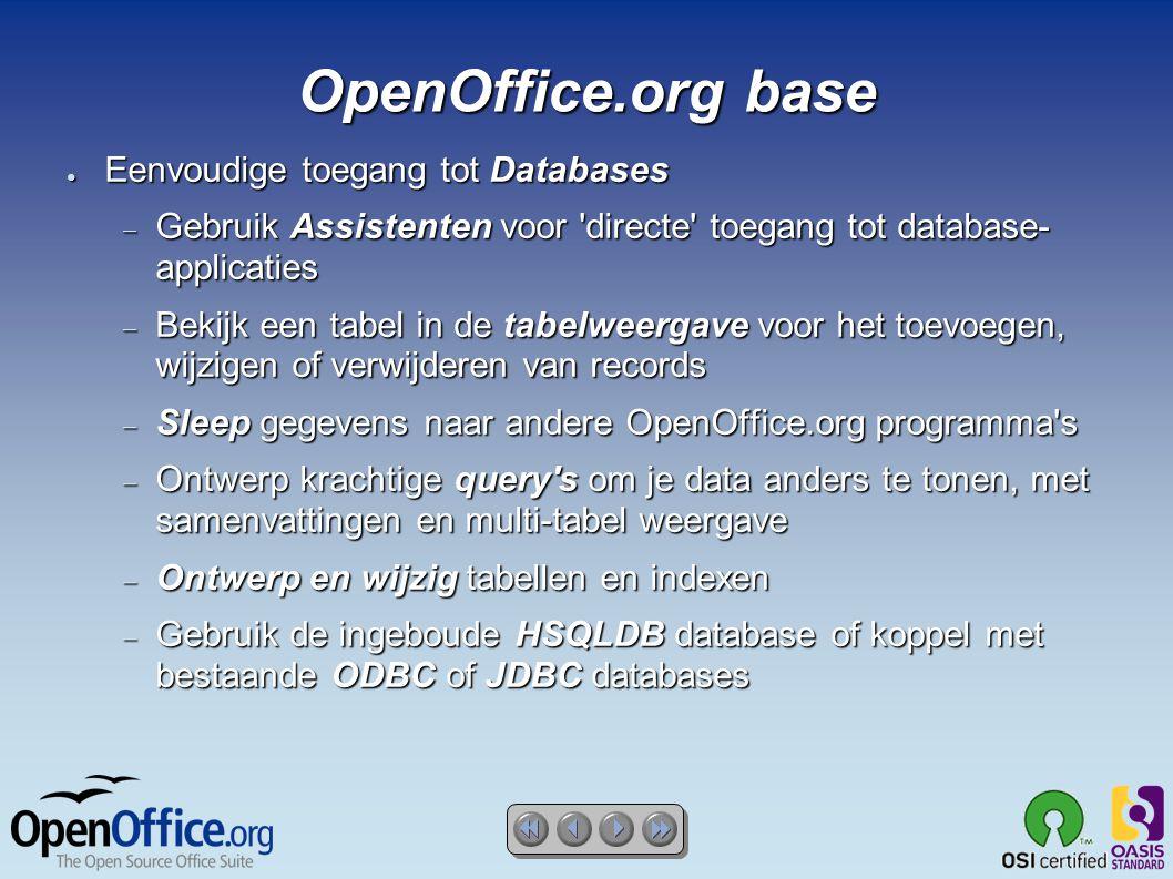 OpenOffice.org base ● Eenvoudige toegang tot Databases  Gebruik Assistenten voor directe toegang tot database- applicaties  Bekijk een tabel in de tabelweergave voor het toevoegen, wijzigen of verwijderen van records  Sleep gegevens naar andere OpenOffice.org programma s  Ontwerp krachtige query s om je data anders te tonen, met samenvattingen en multi-tabel weergave  Ontwerp en wijzig tabellen en indexen  Gebruik de ingeboude HSQLDB database of koppel met bestaande ODBC of JDBC databases