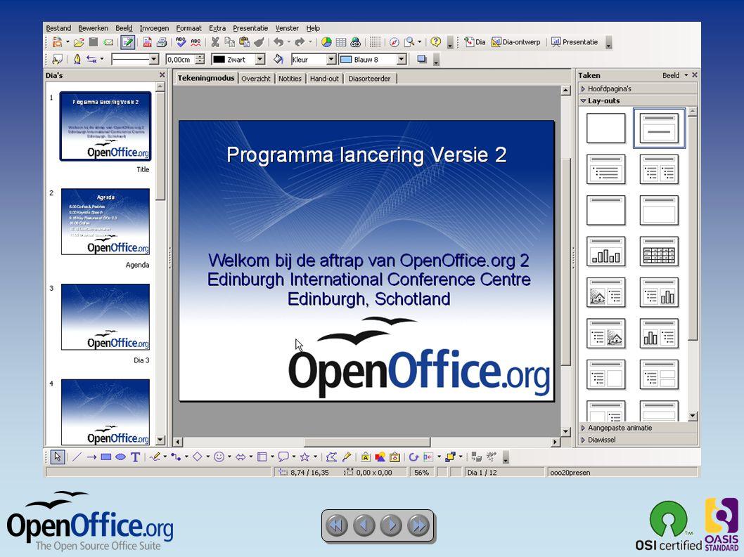 OpenOffice.org draw ● Een geweldig Tekenprogramma  Enkele klik toegang tot alle veelgebruikte vormen  Objecten schikken, in twee of drie dimensies roteren met de 3D effecten  Slimme connectoren voor stroomdiagrammen, organigrammen, netwerkschema s etc  Verfijnde Rendering voor fotorealistische beelden  Importeer afbeeldingen van veelgebruikte formaten (zoals BMP, GIF, JPEG, PNG, TIFF en WMF)  Uitwisselbaar met OpenDocument formaat