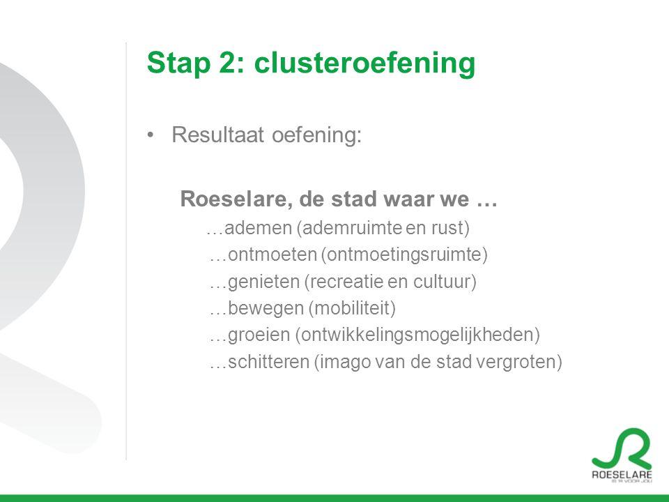 Stap 2: clusteroefening Resultaat oefening: Roeselare, de stad waar we … …ademen (ademruimte en rust) …ontmoeten (ontmoetingsruimte) …genieten (recrea