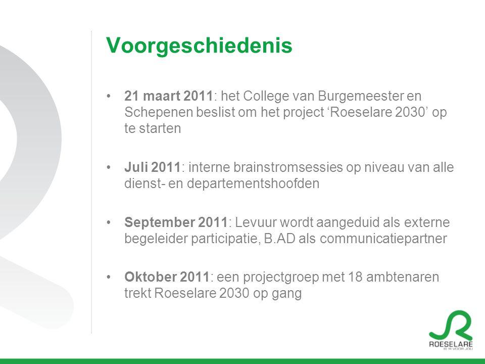 Voorgeschiedenis 21 maart 2011: het College van Burgemeester en Schepenen beslist om het project 'Roeselare 2030' op te starten Juli 2011: interne bra