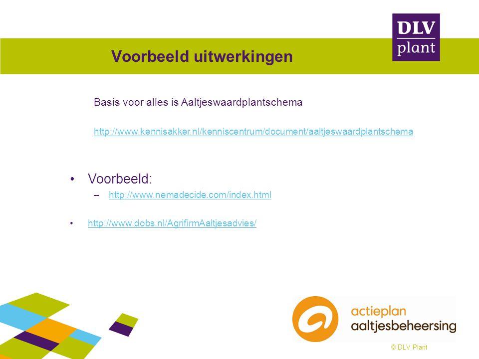 © DLV Plant Voorbeeld uitwerkingen Basis voor alles is Aaltjeswaardplantschema http://www.kennisakker.nl/kenniscentrum/document/aaltjeswaardplantschem