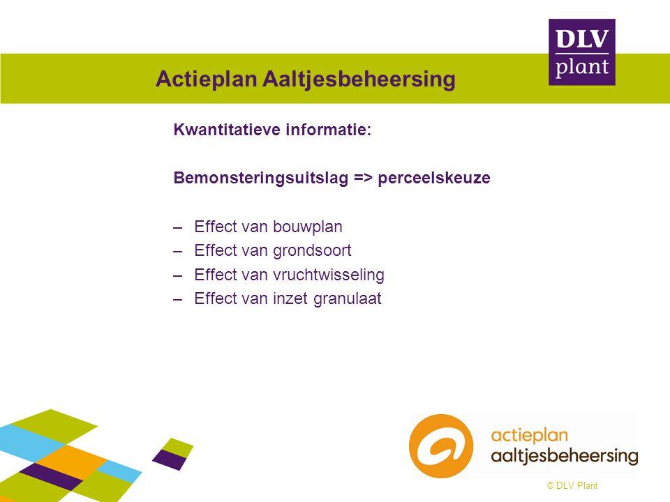 © DLV Plant Actieplan Aaltjesbeheersing Kwantitatieve informatie: Bemonsteringsuitslag => perceelskeuze –Effect van bouwplan –Effect van grondsoort –E
