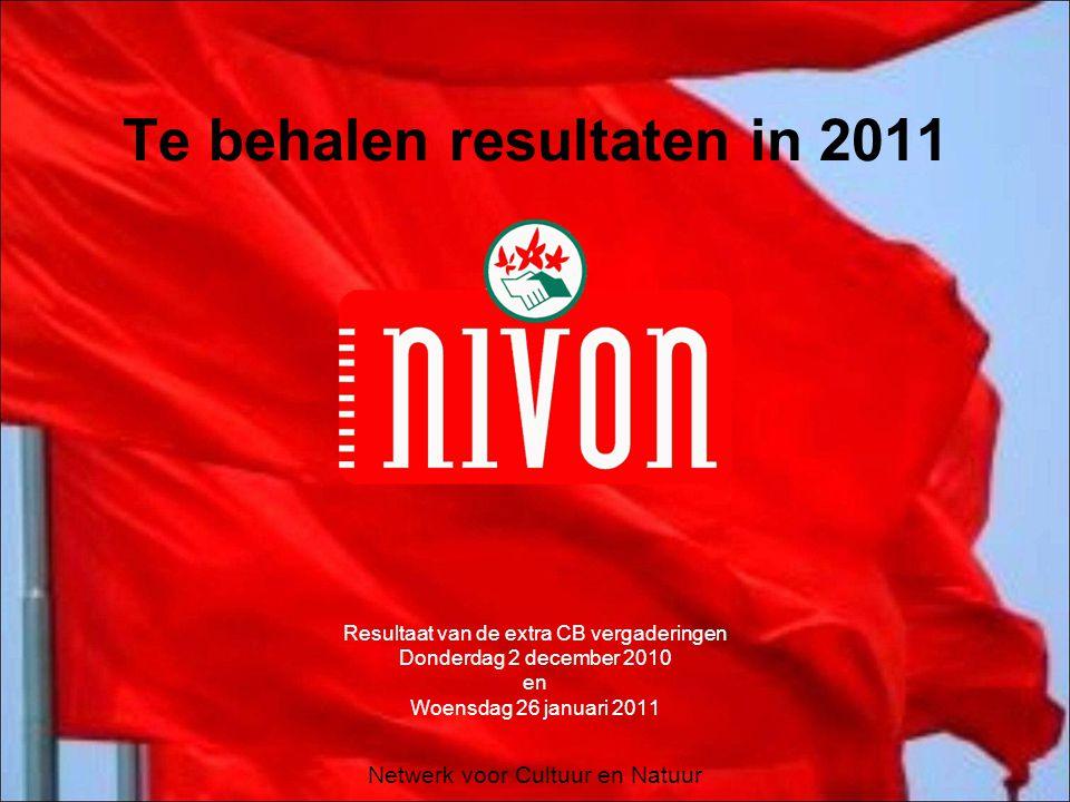 Netwerk voor Cultuur en Natuur Te behalen resultaten in 2011 Resultaat van de extra CB vergaderingen Donderdag 2 december 2010 en Woensdag 26 januari