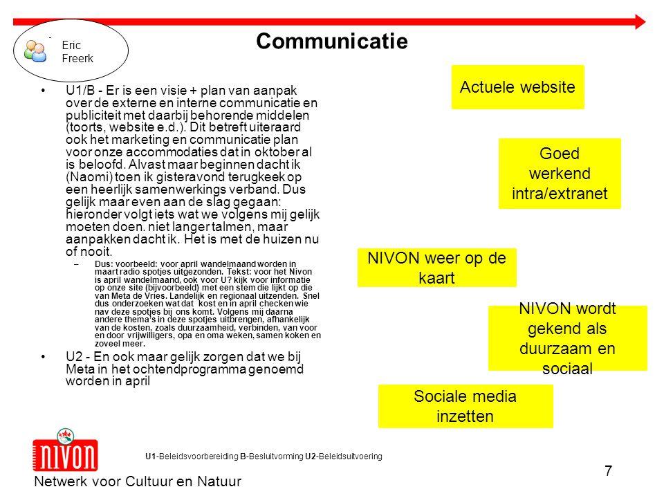 Netwerk voor Cultuur en Natuur 7 U1-Beleidsvoorbereiding B-Besluitvorming U2-Beleidsuitvoering Actuele website Goed werkend intra/extranet NIVON weer op de kaart Sociale media inzetten NIVON wordt gekend als duurzaam en sociaal Communicatie U1/B - Er is een visie + plan van aanpak over de externe en interne communicatie en publiciteit met daarbij behorende middelen (toorts, website e.d.).