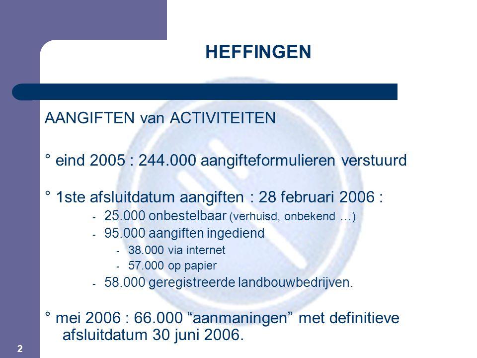 3 HEFFINGEN FACTURATIE ° tussen 20 en 28 juni 2006 : - 1ste serie facturen verstuurd - naar operatoren met correcte aangiften én landbouwers - totaal bedrag : +/- 15 miljoen € ° eind september 2006 : - 2de serie facturen - naar alle laattijdige en/of foutieve aangiften - totaal bedrag : +/- 20 miljoen €