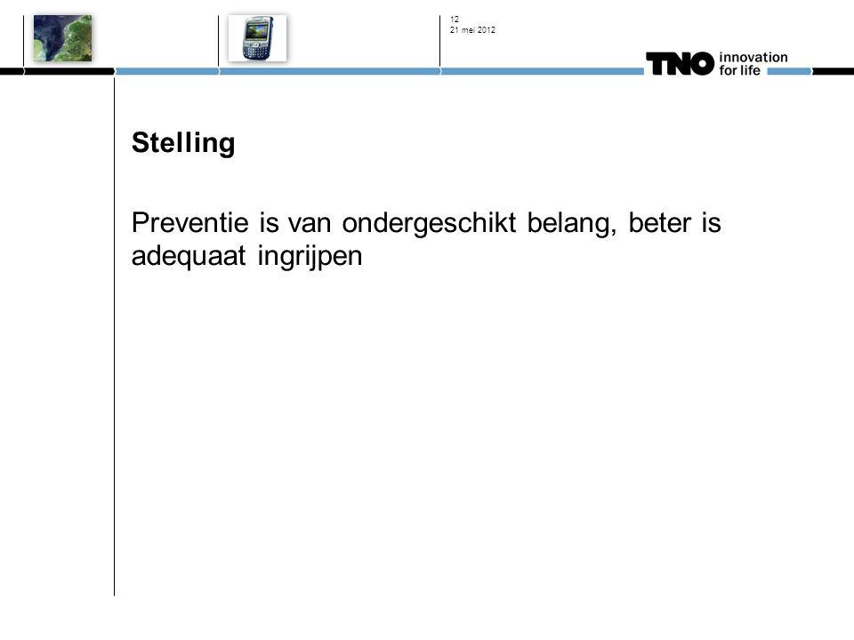 Stelling Preventie is van ondergeschikt belang, beter is adequaat ingrijpen 21 mei 2012 12