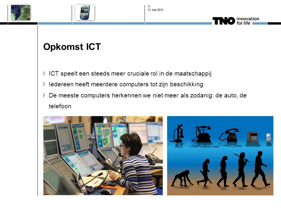 Opkomst ICT ICT speelt een steeds meer cruciale rol in de maatschappij Iedereen heeft meerdere computers tot zijn beschikking De meeste computers herk