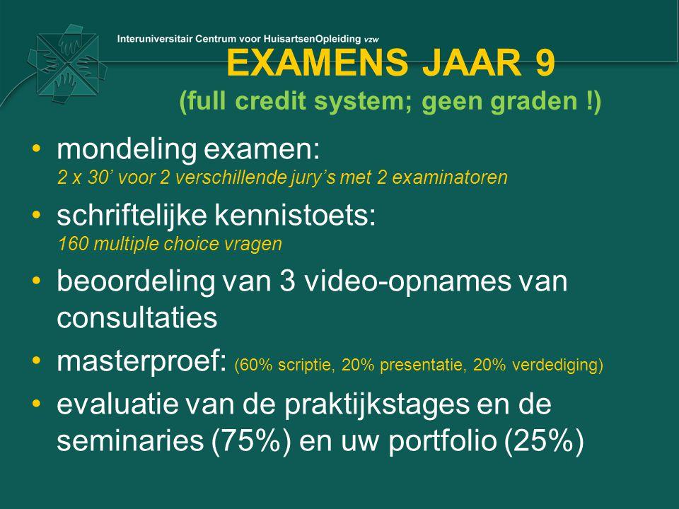 EXAMENS JAAR 9 (full credit system; geen graden !) mondeling examen: 2 x 30' voor 2 verschillende jury's met 2 examinatoren schriftelijke kennistoets: