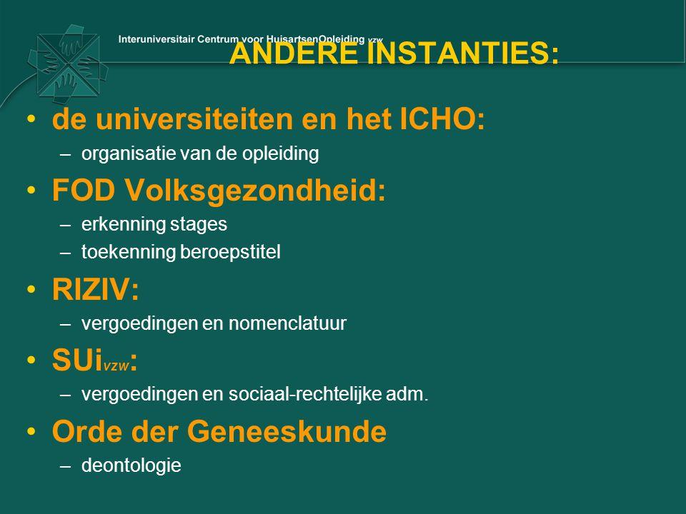 ANDERE INSTANTIES: de universiteiten en het ICHO: –organisatie van de opleiding FOD Volksgezondheid: –erkenning stages –toekenning beroepstitel RIZIV: