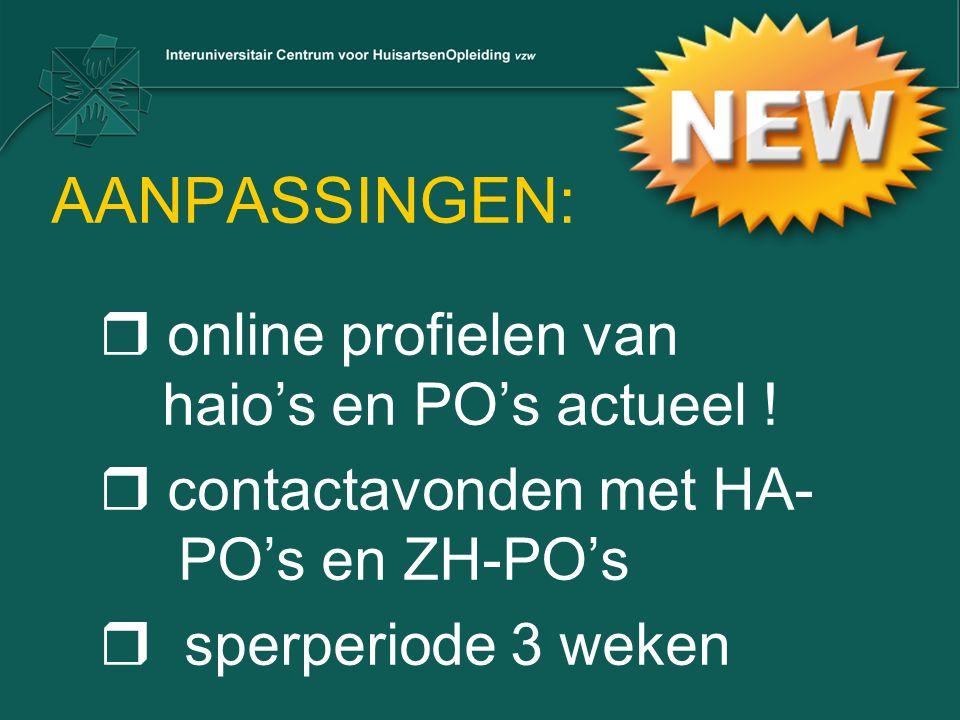 AANPASSINGEN:  online profielen van haio's en PO's actueel !  contactavonden met HA- PO's en ZH-PO's  sperperiode 3 weken