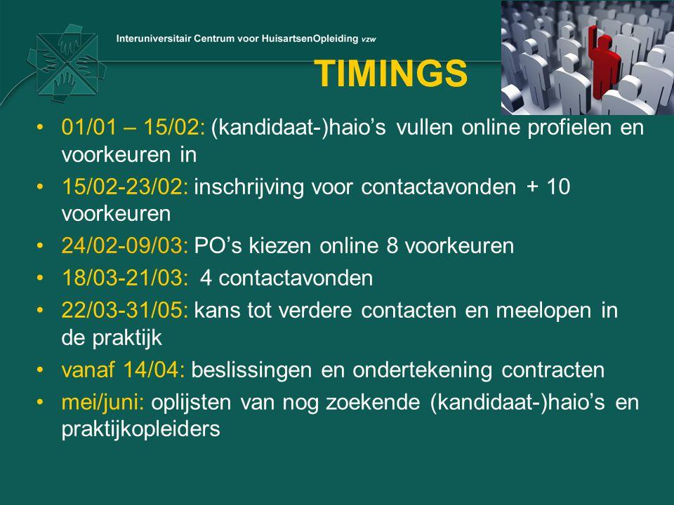TIMINGS 01/01 – 15/02: (kandidaat-)haio's vullen online profielen en voorkeuren in 15/02-23/02: inschrijving voor contactavonden + 10 voorkeuren 24/02