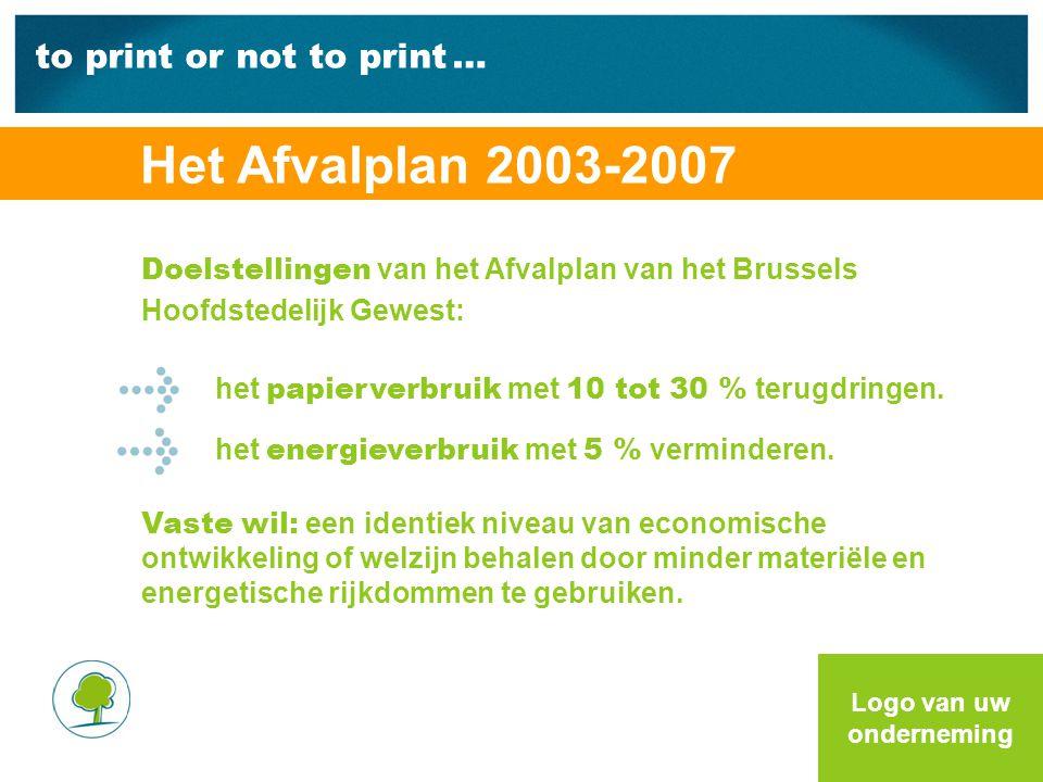 to print or not to print … Doelstellingen van het Afvalplan van het Brussels Hoofdstedelijk Gewest: het papierverbruik met 10 tot 30 % terugdringen.