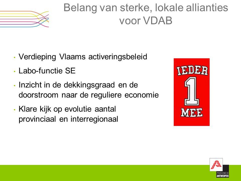 Belang van sterke, lokale allianties voor VDAB Verdieping Vlaams activeringsbeleid Labo-functie SE Inzicht in de dekkingsgraad en de doorstroom naar d