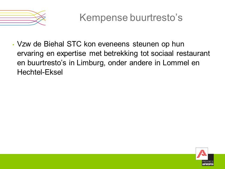 Kempense buurtresto's Vzw de Biehal STC kon eveneens steunen op hun ervaring en expertise met betrekking tot sociaal restaurant en buurtresto's in Lim