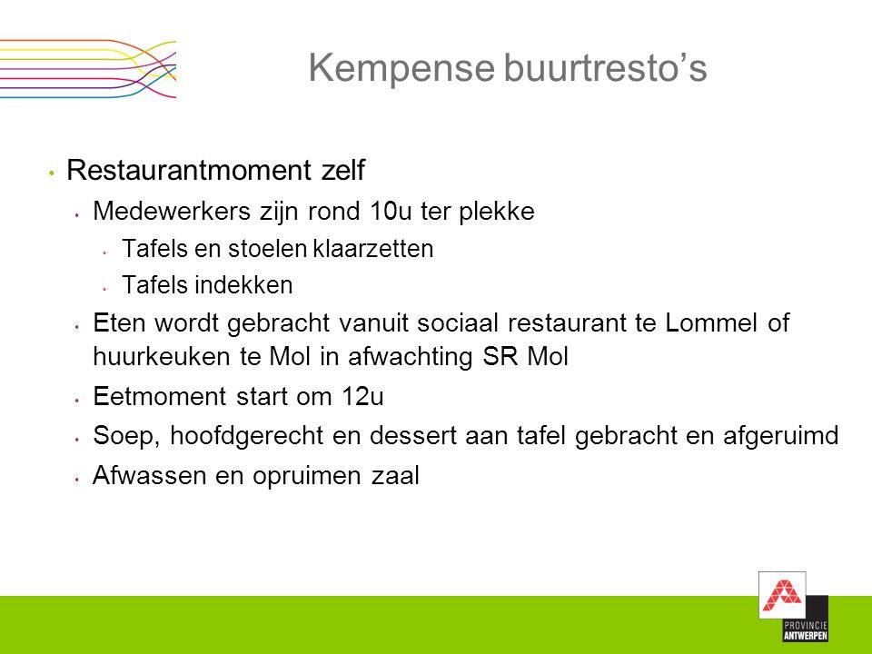 Kempense buurtresto's Restaurantmoment zelf Medewerkers zijn rond 10u ter plekke Tafels en stoelen klaarzetten Tafels indekken Eten wordt gebracht van