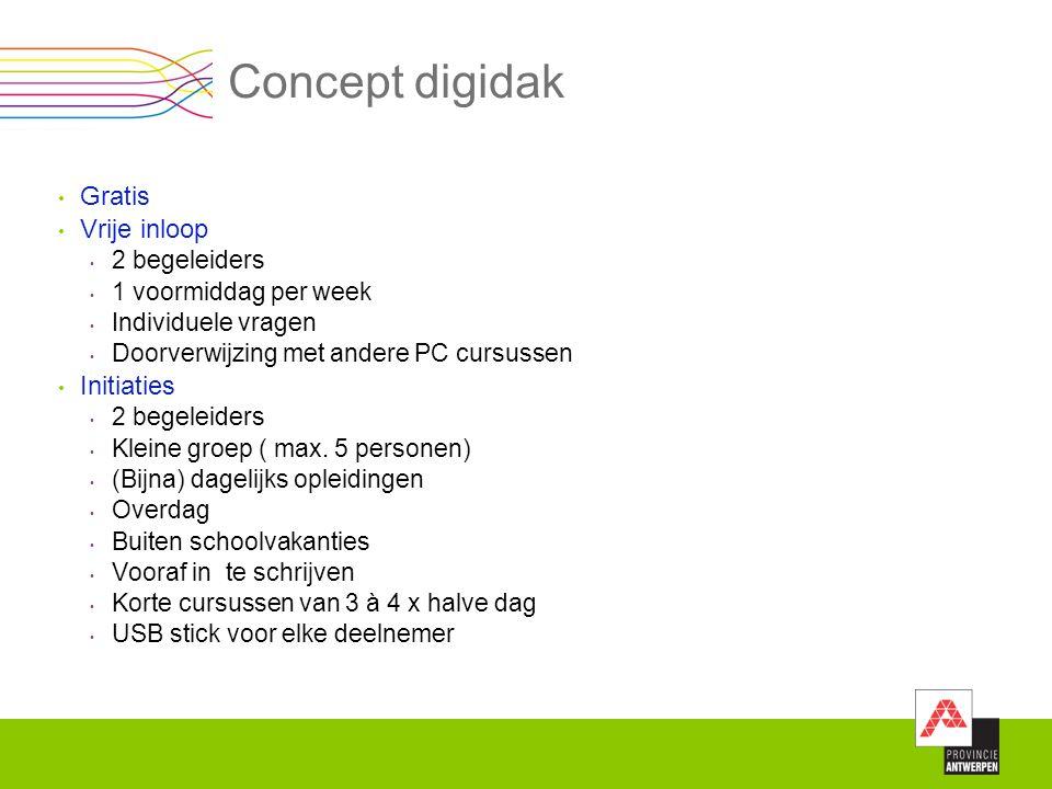 Concept digidak Gratis Vrije inloop 2 begeleiders 1 voormiddag per week Individuele vragen Doorverwijzing met andere PC cursussen Initiaties 2 begelei
