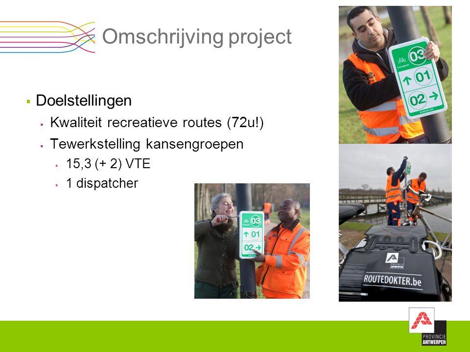 Omschrijving project  Doelstellingen  Kwaliteit recreatieve routes (72u!)  Tewerkstelling kansengroepen  15,3 (+ 2) VTE  1 dispatcher