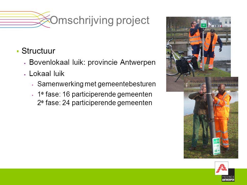 Omschrijving project  Structuur  Bovenlokaal luik: provincie Antwerpen  Lokaal luik  Samenwerking met gemeentebesturen  1 e fase: 16 participeren
