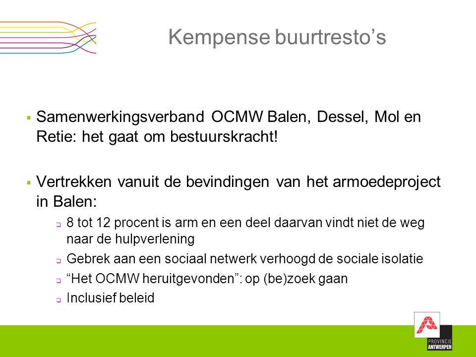 Kempense buurtresto's  Samenwerkingsverband OCMW Balen, Dessel, Mol en Retie: het gaat om bestuurskracht!  Vertrekken vanuit de bevindingen van het