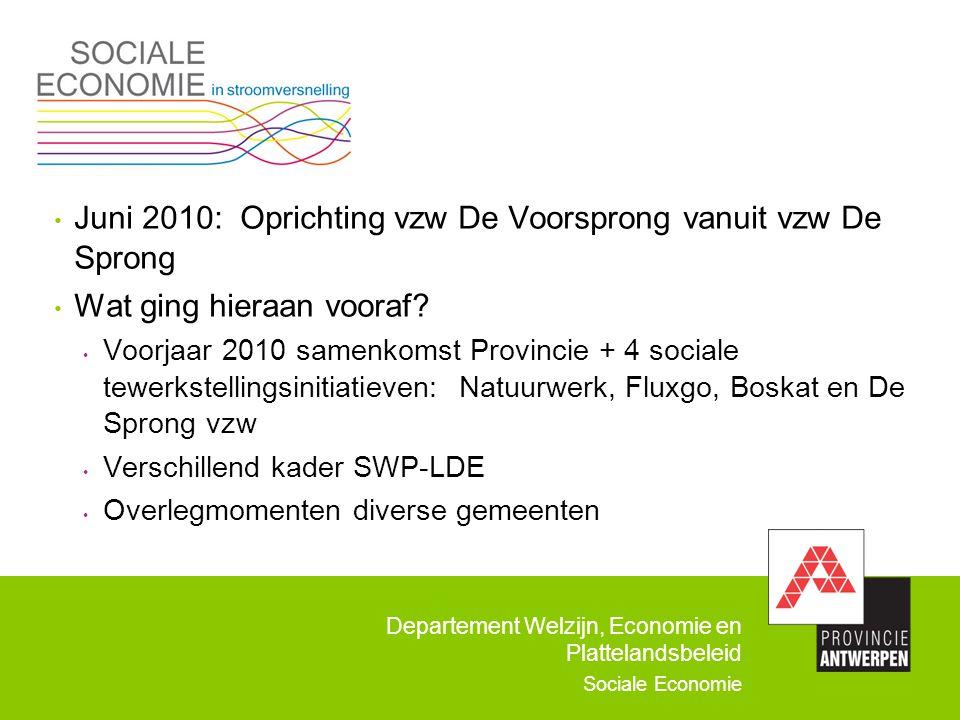 Departement Welzijn, Economie en Plattelandsbeleid Sociale Economie Juni 2010: Oprichting vzw De Voorsprong vanuit vzw De Sprong Wat ging hieraan voor