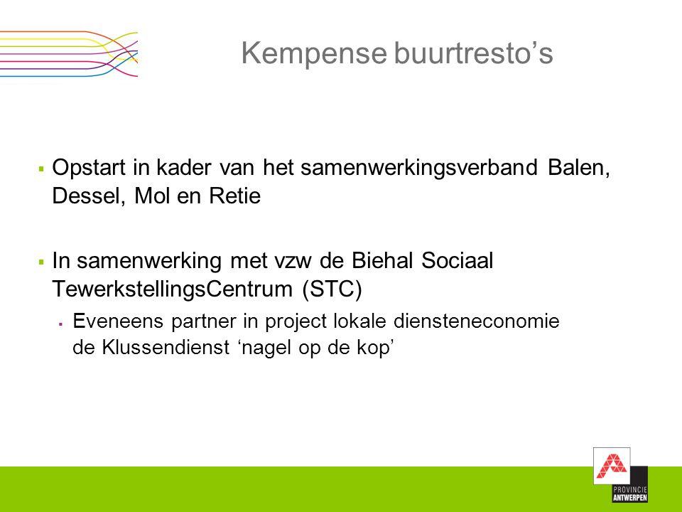  Opstart in kader van het samenwerkingsverband Balen, Dessel, Mol en Retie  In samenwerking met vzw de Biehal Sociaal TewerkstellingsCentrum (STC) 