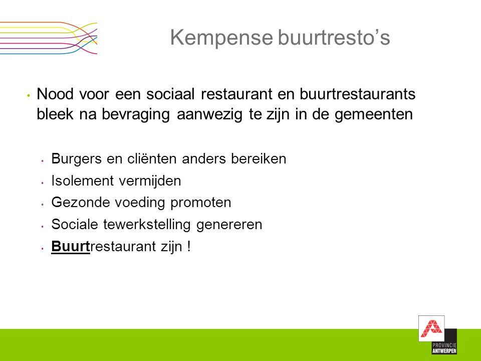 Kempense buurtresto's Nood voor een sociaal restaurant en buurtrestaurants bleek na bevraging aanwezig te zijn in de gemeenten Burgers en cliënten and