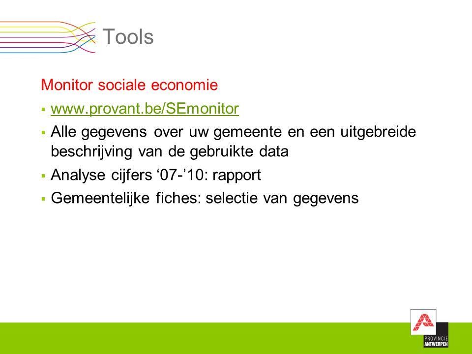 Tools Monitor sociale economie  www.provant.be/SEmonitor www.provant.be/SEmonitor  Alle gegevens over uw gemeente en een uitgebreide beschrijving va