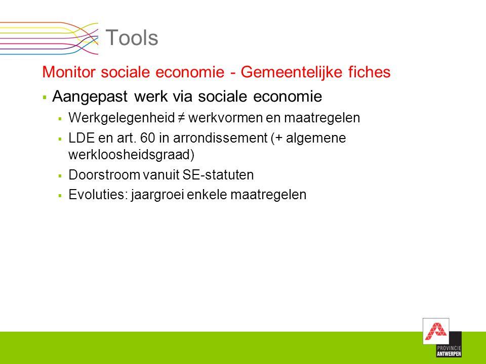 Tools Monitor sociale economie - Gemeentelijke fiches  Aangepast werk via sociale economie  Werkgelegenheid ≠ werkvormen en maatregelen  LDE en art