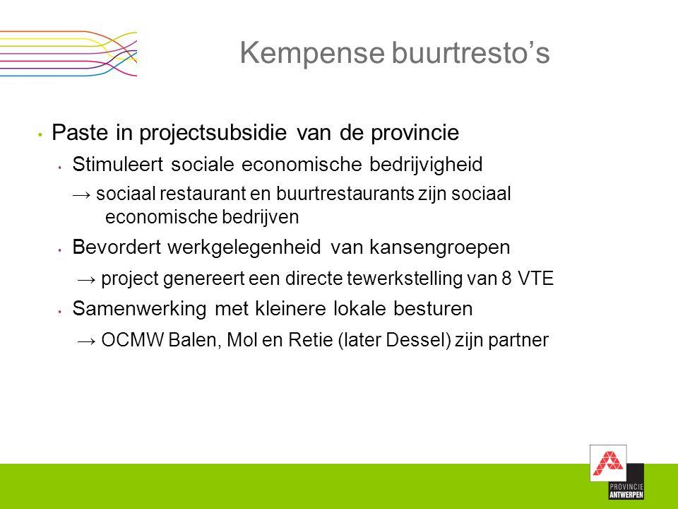 Kempense buurtresto's Paste in projectsubsidie van de provincie Stimuleert sociale economische bedrijvigheid → sociaal restaurant en buurtrestaurants