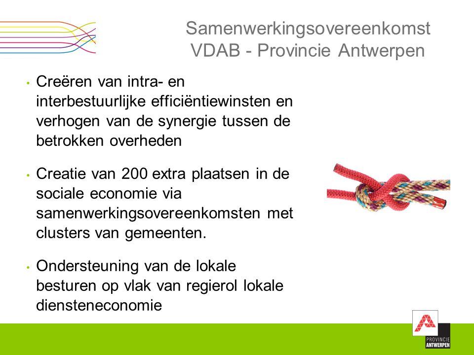 Samenwerkingsovereenkomst VDAB - Provincie Antwerpen Creëren van intra- en interbestuurlijke efficiëntiewinsten en verhogen van de synergie tussen de