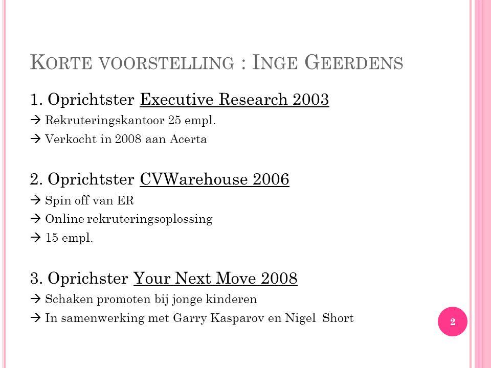 K ORTE VOORSTELLING : I NGE G EERDENS 1.