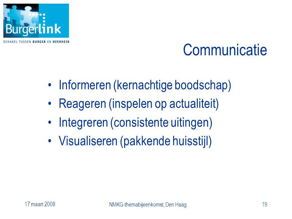17 maart 2008 NMKG-themabijeenkomst, Den Haag19 Communicatie Informeren (kernachtige boodschap) Reageren (inspelen op actualiteit) Integreren (consistente uitingen) Visualiseren (pakkende huisstijl)