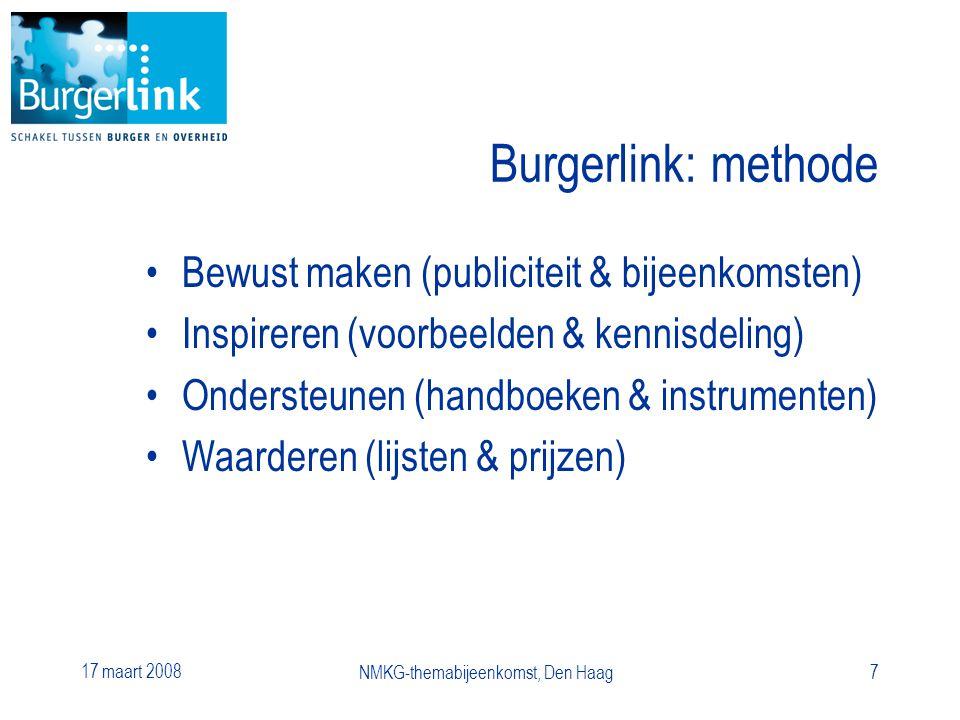 17 maart 2008 NMKG-themabijeenkomst, Den Haag7 Burgerlink: methode Bewust maken (publiciteit & bijeenkomsten) Inspireren (voorbeelden & kennisdeling) Ondersteunen (handboeken & instrumenten) Waarderen (lijsten & prijzen)