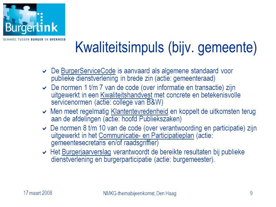 17 maart 2008 NMKG-themabijeenkomst, Den Haag9 Kwaliteitsimpuls (bijv.