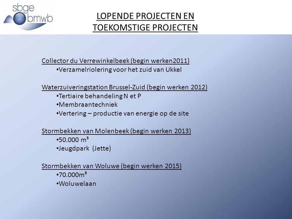 Collector du Verrewinkelbeek (begin werken2011) Verzamelriolering voor het zuid van Ukkel Waterzuiveringstation Brussel-Zuid (begin werken 2012) Terti